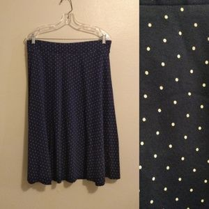 Land's End Women's Blue, White Dots Jersey Skirt